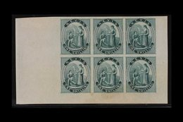 1862 IMPERF PROOFS. 1s Green (as SG 4) IMPERF PROOFS BLOCK Of 6 (positions 7 To 12) Printed On Thin Ungummed Greyish Pap - St.Christopher-Nevis-Anguilla (...-1980)
