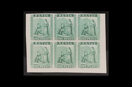 1862 IMPERF PROOFS. 1d Green (as SG 1) IMPERF COLOUR PROOFS BLOCK Of 6 (positions 7 To 12) Printed In Unissued Colour On - St.Christopher-Nevis-Anguilla (...-1980)