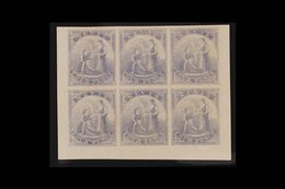 1862 IMPERF PROOFS. 4d Violet-grey (as SG 2) IMPERF COLOUR PROOFS BLOCK Of 6 (positions 7 To 12) Printed In Unissued Col - St.Christopher-Nevis-Anguilla (...-1980)