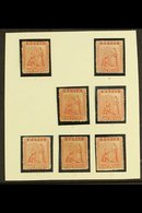 1866-76 1d PARTIAL SHEET RECONSTRUCTION. 1d Pale/deep Red, SG 9/10, Seven Unused No Gum Plated Examples - Positions 4, 6 - St.Christopher-Nevis-Anguilla (...-1980)