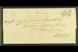 1827 (27 June) Wesleyan Missionary EL To London With Two Fair Strikes Of The St Vincent Fleuron Alongside London Arrival - St.Vincent (...-1979)