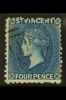 1875-78 4d Blue, Perf 11-12½, SG 25, Fine Used. For More Images, Please Visit Http://www.sandafayre.com/itemdetails.aspx - St.Vincent (...-1979)