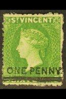 1881 1d On 6d Bright Green Surcharge, SG 34, Mint Small Part Gum, Fresh, Cat £475. For More Images, Please Visit Http:// - St.Vincent (...-1979)