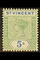 1899 5s Green & Blue, SG 75, Very Fine Mint. For More Images, Please Visit Http://www.sandafayre.com/itemdetails.aspx?s= - St.Vincent (...-1979)