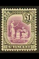 1913-17 £1 Mauve & Black, Wmk Mult. Crown CA, SG 120, Very Fine Mint. For More Images, Please Visit Http://www.sandafayr - St.Vincent (...-1979)