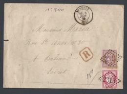 Enveloppe Recommandée Avec Cérès Y/T 57 Et 58 De Mennecy Du 6/6/1875 Vers Orléans Verso Cachet Cire TAD Paris Rouge - Postmark Collection (Covers)