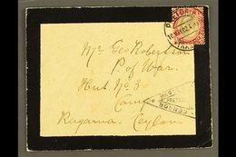 BOER WAR 1902 (10 May) Mourning Envelope Addressed To Prisoner Of War At Ragama Camp, Ceylon, Bearing Transvaal 1d KEVII - South Africa (...-1961)