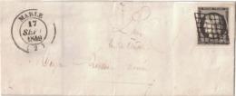 LETTRE  N°3a GRILLE T14  MARLE  (02) 17/09/49 Lac Arr TTB Ind 16 SIGNE - 1849-1850 Cérès