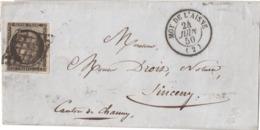LETTRE  N°3 GRILLE T15  MOY DE L'AISNE  (02) 24/06/50 Lsc Arr TTB Ind 16 - 1849-1850 Cérès