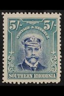 1924 5s Blue And Blue-green Admiral, SG 14, Fine Mint. For More Images, Please Visit Http://www.sandafayre.com/itemdetai - Southern Rhodesia (...-1964)