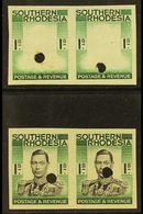 1937 1s IMPERFORATE Plate Proofs Ex Waterlow Archive, Two Pairs On Gummed Paper With Security Punctures, One In Frame On - Southern Rhodesia (...-1964)