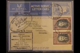 AEROGRAMME 1944 (1 Feb) 3d Ultramarine Postal Stationary Air Active Service Letter Card Addressed To England And Uprated - Southern Rhodesia (...-1964)