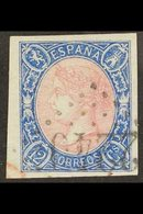 """1865 12c Rose And Blue Imperf (SG 82, Edifil 70) Cancelled By """"2240"""" FRENCH POSTMARK With 4 Large Nest Margins. A Beauty - Spain"""