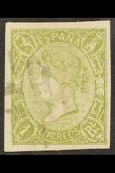1865 2r Green Imperforate POSTAL FORGERY, Edifil 72F, Used With 4 Large Margins. For More Images, Please Visit Http://ww - Spain