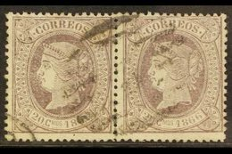 1866 20c De E. Lilac Perf 14, SG 98 (Edifil 86), Very Fine Used PAIR. A Scarce Multiple. For More Images, Please Visit H - Spain