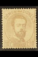 1872-73 10c Deep Lilac King Amadeo, Type I, Perf 14, SG 196 Or Michel 113, Very Fine Unused Without Gum For More Images, - Spain