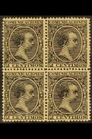 1899 2c Black Alfonso XIII, SG 289 (Edifil 214), Never Hinged Mint BLOCK OF FOUR With Excellent Centering For This Issue - Spain