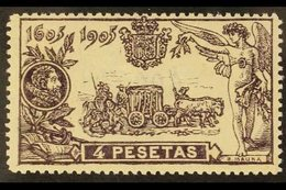 1905 4p Plum Don Quixote, SG 315 (Edifil 265), Never Hinged Mint. Fresh & Well- Centered. For More Images, Please Visit  - Spain