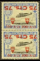 """1927 75c On 10c Air Vertical PAIR WITH SURCHARGES INVERTED, ONE """"192 """" ERROR, Never Hinged Mint. For More Images, Pleas - Spain"""
