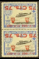 """1927 75c On 10c Air Vertical PAIR WITH SURCHARGES INVERTED, ONE DAMAGED TO """"17 - V"""", Never Hinged Mint. For More Images, - Spain"""