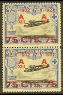 """1927 75c On 10c Air Vertical PAIR ONE WITH DAMAGED TO """"17 - V"""", Never Hinged Mint. For More Images, Please Visit Http:// - Spain"""