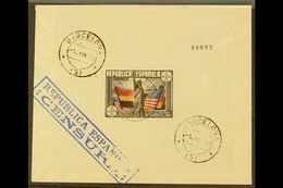 1938 FIRST DAY COVER (June 1st) 150th Anniversary Of U.S Constitution 1 Peseta Mini Sheet, SG MS846 On Cover Rear Tied B - Spain