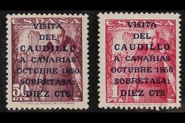 """1950 (23 Oct) General Franco's Canary Island Visit (""""CAUDILLO"""" 16½ Mm Long) 10c On 50c And 10c On 1p (Edifil 1083A/B, SG - Spain"""