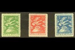 1924 UPU ANNIVERSARY TOP VALUES. Carrier Pigeon 1k Green, 2k Rose Red & 5k Blue, Mi 171w/73w, SG 173/75, Facit 223/25, H - Sweden