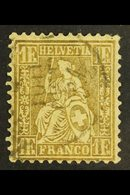 1862-4 1f Bronze-gold, Perf.11½, Impressed Watermark, Zumstein 36a, SG 60, Very Fine Used. For More Images, Please Visit - Switzerland