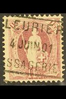 1882-1903 1f Claret Standing Helvetia Perf 11½x12 (SG 160, Michel 63 Y Db, Zumstein 71E), Fine Used With Fully Dated Box - Switzerland