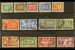 1945 'Pax' Peace Complete Set (Michel 447/59, SG 447/59), Fine Cds Used, 10f With Minor Repaired Tear, Fresh, Cat £1,200 - Switzerland