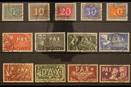 1945 Peace (Pax) Complete Set, Michel 447/59, SG 447/59, Very Fine Cds Used. A Lovely Set Of This Issue. (13 Stamps) For - Switzerland