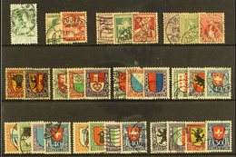 """PRO JUVENTUTE 1913-1924 COMPLETE Very Fine Used Collection On A Stock Card. Note 1920 7½c """"FRO JUVENTUTE"""" Variety (Miche - Switzerland"""