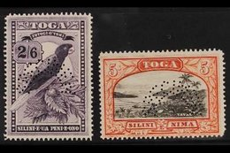 """1942 2s 6d And 5s, SG 81/82, Perforated """"Specimen"""", Very Fine Mint. (2 Stamps) For More Images, Please Visit Http://www. - Tonga (...-1970)"""