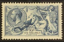 "1918-19 10s Blackish- Blue (""Steel Blue"") Bradbury Seahorse, SG Spec N71(3), Very Fine Lightly Hinged Mint Example Of Th - 1902-1951 (Kings)"