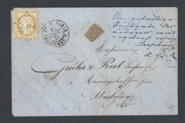 Cérès Y/T 59 Sur LAC En PP Oblitération Ambulant Paris A Avricourt Losange PAV 2° Du 15/1/1874 Vers Strasbourg - Marcophilie (Lettres)