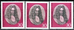 A13-04-9) BRD - 3x Mi 518 - ** Postfrisch - 20Pf                   Leibniz - Ungebraucht