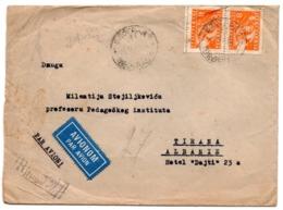 1948 YUGOSLAVIA, BELGRADE TO TIRANA, ALBANIA, AIR MAIL, JUST BEFORE CANCELING DIPLOMATIC RELATIONS - 1945-1992 Socialist Federal Republic Of Yugoslavia