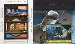 Exploration Apollo 11-17 Mondflug 1972 Ä.Guinea Block 66+Manama Bl.218 O 24€ Astronauten Gold Blocs Sheets Bf Space - Collections