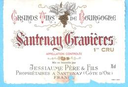 Etiquette-Vin De Bourgogne-Santenay Gravières-1er Cru-Jessiaume Père & Fils à Santenay (Côte D'Or) - Bourgogne