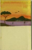 MESCHINI ( ? ) - NAPOLI - PANORAMA CON VESUVIO - POCHOIR / DIPINTA A MANO / HAND PAINTED - 1920s (BG603) - Illustrators & Photographers
