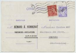 Type Mercure 30 C. Perforé BH (Bénard & Honnorat Parfumeurs à Grasse) En Complément D'entier Iris 1f20 . OMEC 1945 . - Perfins