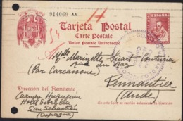 Entier Cervantes 45p Rouge Censure Gobierno Militar De Guipuzcoa San Sebastian  Censura Militar Correos D 24 1 39 - Interi Postali