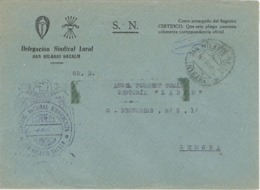 34315. Carta S.N. Franquicia Delegacion Sindical SANT HILARI SACALM (Gerona) 1960. Fechador San Hilario - 1931-Hoy: 2ª República - ... Juan Carlos I