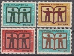 BHUTAN, 1972   International  Book Year,   Book Year Emblem, Set 4v Complete, MNH(**) - Bhutan