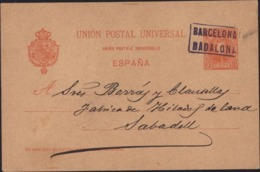 Entier UPU Espana Alphonse XIII 10p Rouge CAD Ambulant ? Barcelona Badalona 27 3 1901 - Entiers Postaux