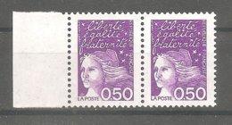 1997 Marianne De LUQUET - Légende LA POSTE.Y&T N°3088** 0,50 F Violet En Paire Horizontale - Neuve. Type 2. GB + Marge. - 1997-04 Marianne (14. Juli)