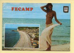 76. FECAMP – Vue Générale De La Plage – Blason (animée) (voir Scan Recto/verso) - Fécamp