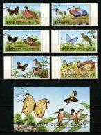 AJMAN - OISEAUX - PAPILLONS - SERIE COMPLETE 6 TIMBRES + 1 BLOC OBLITERES - Birds