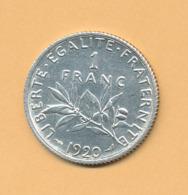 1 F Semeuse 1920 SUP Argent 835/1000 - France